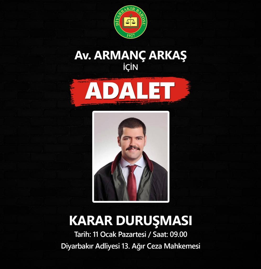 22/06/2019 Tarihinde Öldürülen Baromuz Üyesi Av. Armanç ARKAŞ'ın Karar Duruşması