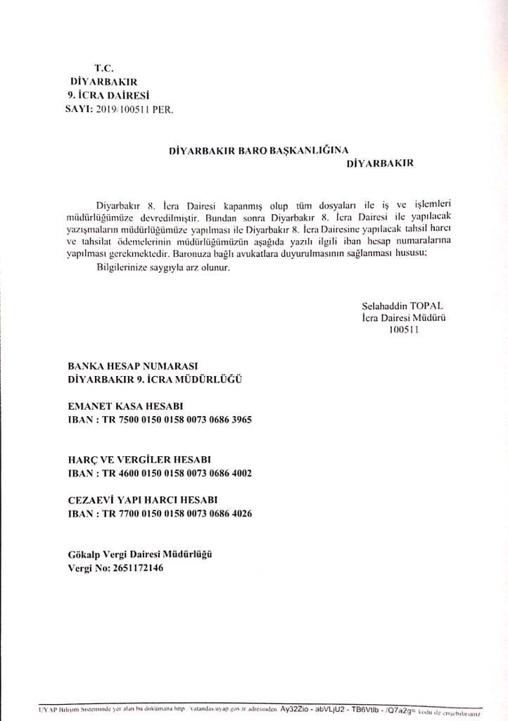 Diyarbakır 8. İcra Müdürlüğü kapanmış olup tüm dosya ile iş ve işlemleri 9. İcra Müdürlüğüne devredilmesi…
